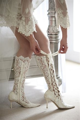 Knee High White Lace Wedding Shoes High Heels Ribbons ◆ NeoVictorian Modern