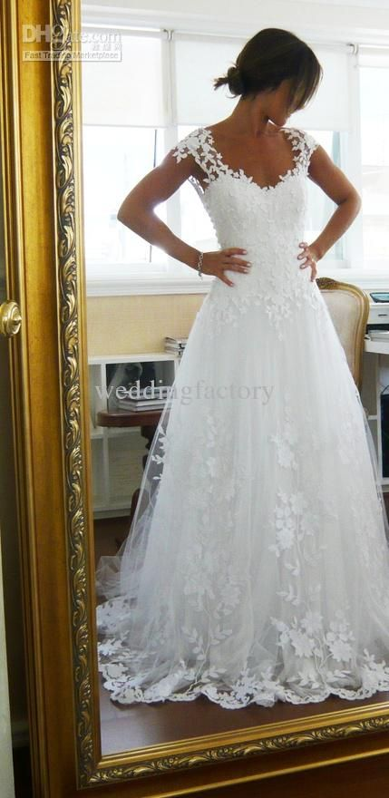 Wholesale Wedding Dress - Buy 2013 Sexy Wedding Dresses A-line V-neck Backless Lace Appliques Cap Sleeves Sweep Train, $198.0 | DHgate
