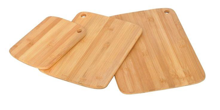 3 Piece Bamboo Cutting Boards Cutlery Accessory Set