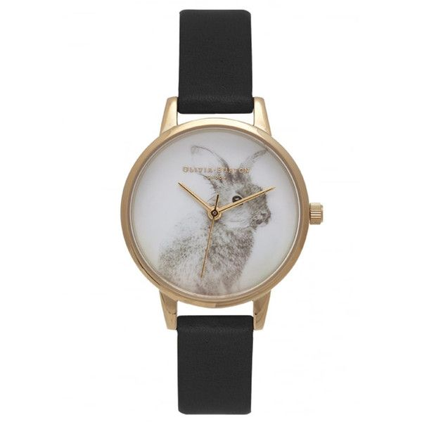 Olivia Burton Woodland Bunny Vegan Friendly Watch - Black & Gold ($99) ❤ liked on Polyvore featuring jewelry, watches, leather strap watches, gold wristwatches, olivia burton watches, gold jewelry and yellow gold watches