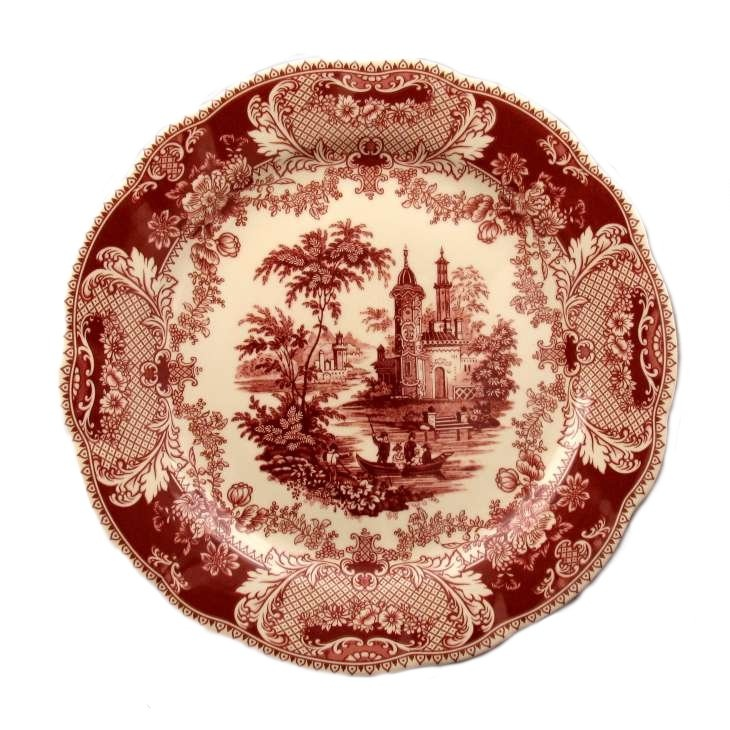Red Cream Victorian Country Toile Plate Decorative