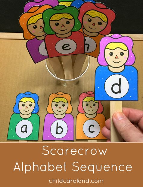 scarecrow alphabet sequence for letter recognition and review.