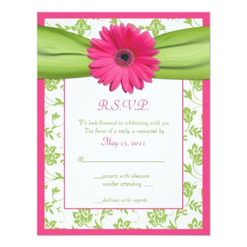 Damask Wedding Reception Card Pink and Green Floral Damask Wedding Reply Card
