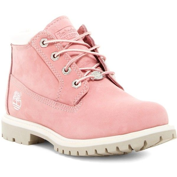 Timberland Nellie Double Waterproof Ankle Boot (£54) ❤ liked on Polyvore featuring shoes, boots, ankle booties, pink, chunky heel lace up boots, pink ankle boots, short boots, waterproof ankle boots and lace up bootie