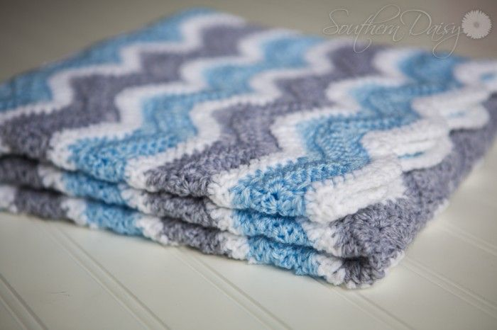 Crochet Pattern Chevron Baby Blanket : I just finished making this beautiful gray, blue, and ...