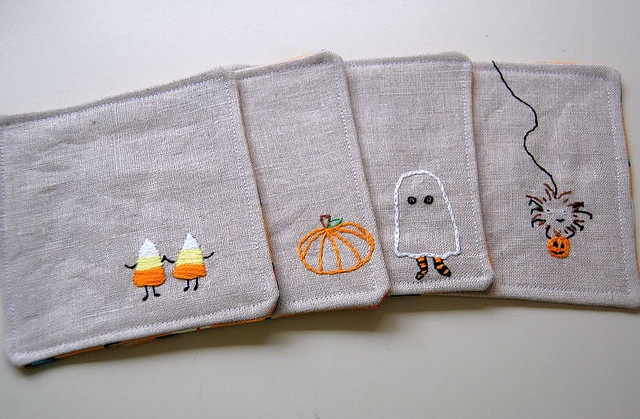 I heart embroidery. (Especially candy corn friends.)