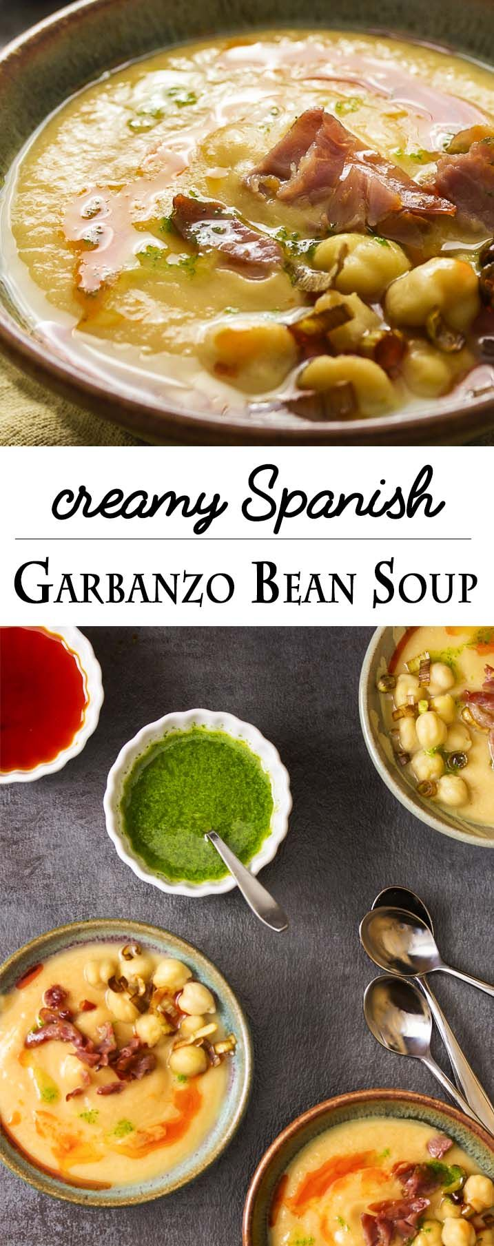 Looking for a simple and elegant soup? You'll love this Spanish garbanzo bean soup made from canned chickpeas and pureed until it's silky smooth. | justalittlebitofbacon.com