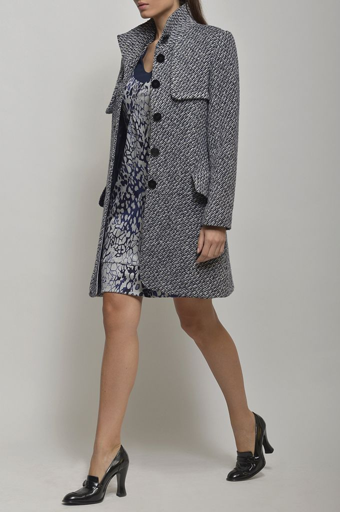 Coat with stand up collar/ Short sleeve printed dress.