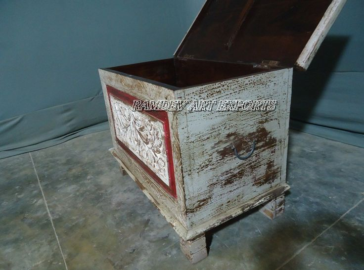 Reclaimed Wooden Carved Painted Box