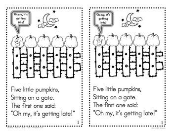 Five Little Pumpkins Mini-book - FREEBIE