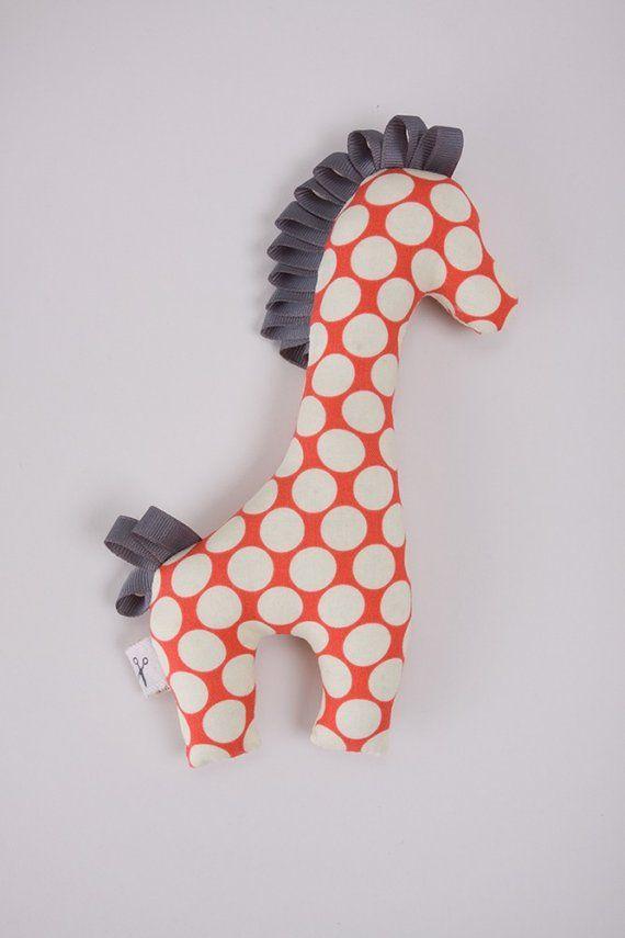 Giraffe plush toy-small polka dot pattern van ScissorStitch op Etsy
