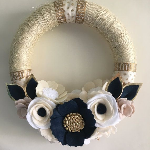 Navy gold cream twine wreath 10 by wiltedrosewreaths on Etsy