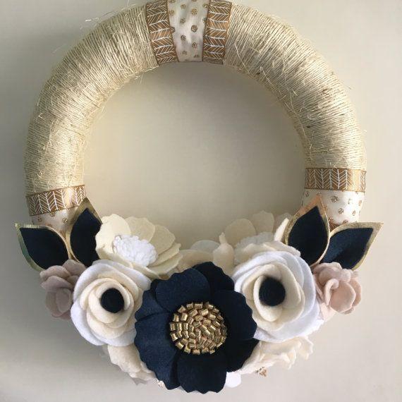 Navy gold cream twine wreath 10 by wiltedrosewreaths on Etsy