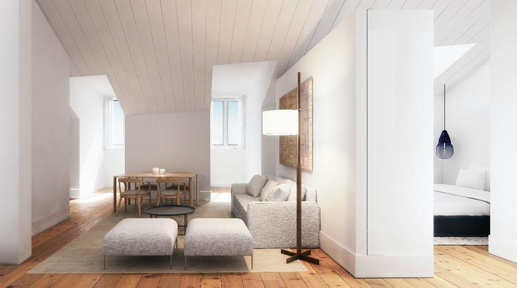 Fragmentos de Arquitectura | Rua do Carmo | Arquitetura | Architecture | Atelier | Design | Indoor | Details | White | Minimal | Living Room | Sofas | Pillows | Minimalism | Dinning Table | Tv | Side Table | Windows | Floor Lamp | Bedroom