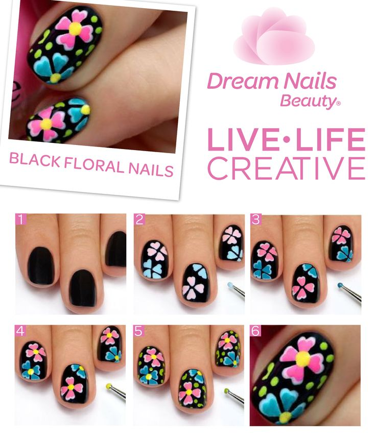 Definitely a work of art. These beautiful flowers look effortlessly magnificent on black nails. #DIY #Diva