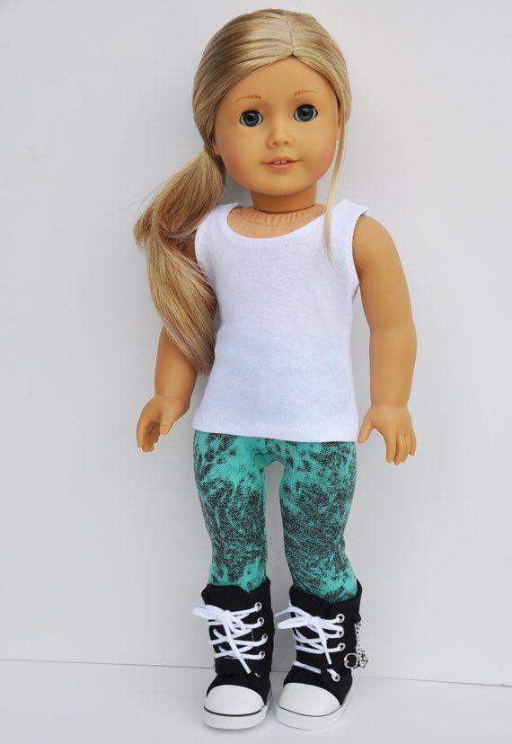 American Girl Clothes - Mint & Black Mottled Print Leggings