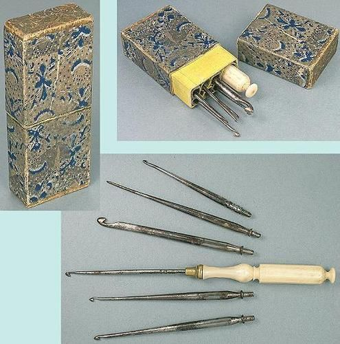 Antique English Cased Crochet Hook Set; Circa 1860