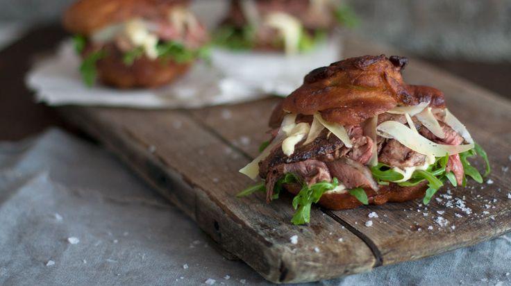 Vetkoek Steak Sliders with Horseradish Mayo