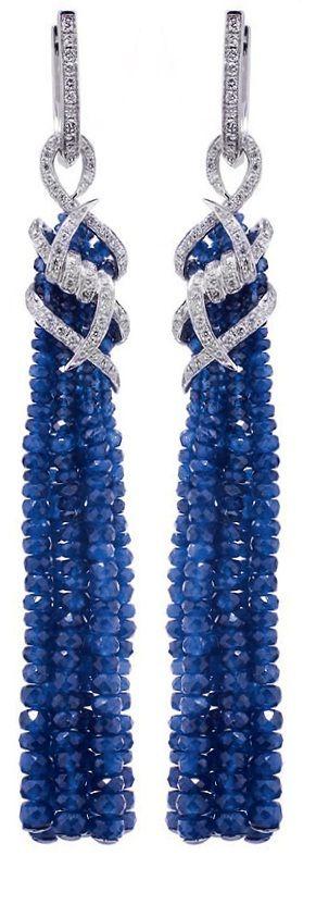 STEPHEN WEBSTER White Gold, Diamond, and Sapphire Ear Pendants