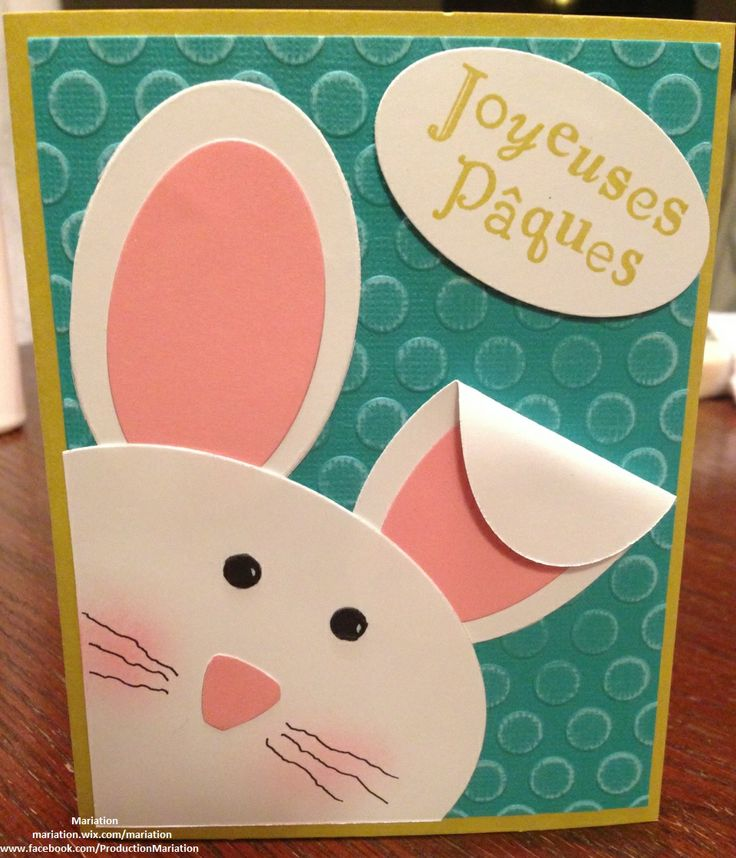 Carte de Pâques avec lapin version garcon en scrapbooking - Stampin' up