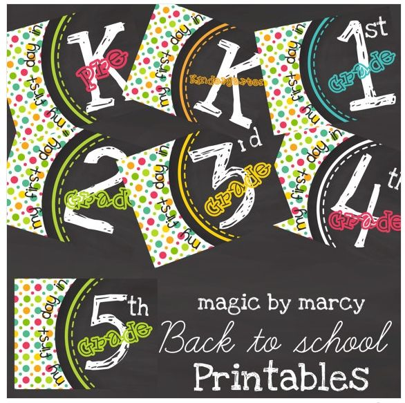 First Day of School Printables. Pre-K to 5 for $5 or one sign for $2. Choose among Polka Dots, Chalk Board Pattern or Chevron. Details on Frugal Coupon Living.