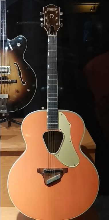 Checkout this 1962 Gretsch Ranger 6022 flat-top acoustic guitar, with Golden Red finish and neo-classic thumbnail fretboard markers, on display at the Country Music Hall of Fame.