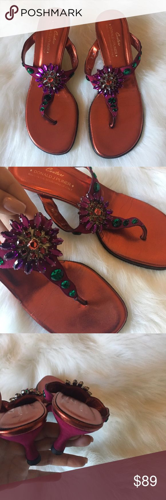 1 hr sale ⏰Donald J Pliner Couture jeweled sandals So beautiful! T-strap low heeled sandals. Gorgeous jeweled detailing, all jewels are in place and perfect. These have been worn very gently 2 times. No flaws! No trades. Donald J. Pliner Shoes Sandals