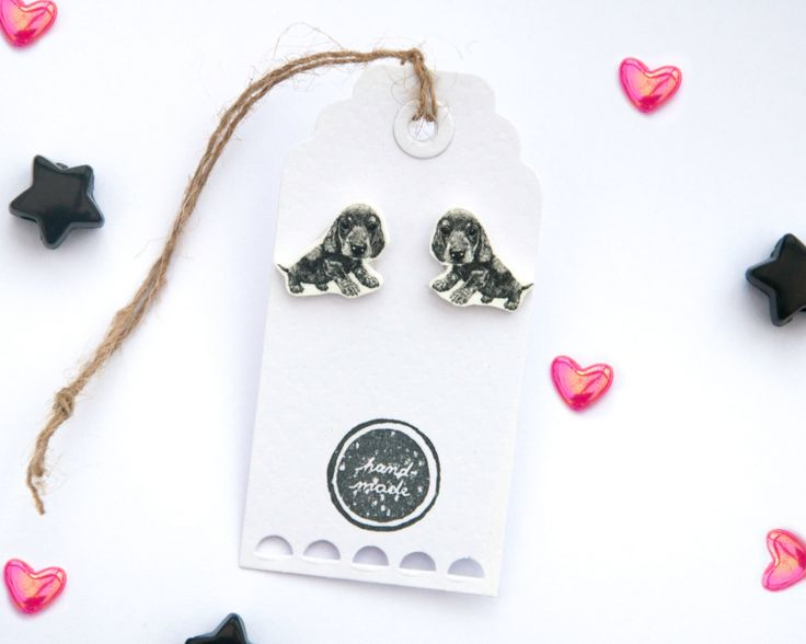 Handmade Illustrated Dachshund Puppy Earrings by LizzieMayDesign on Etsy