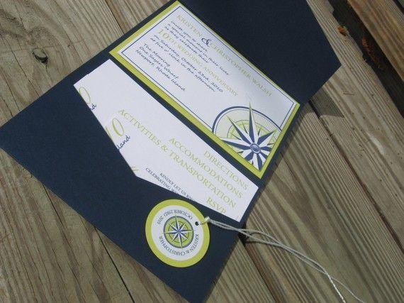 Nautischer Kompass Tasche Falten Einladung von invitealicious, $8.50