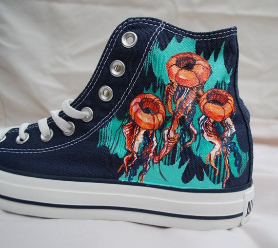Hand Painted Converse Shoes  Jellyfish by Marleed on Etsy, $155.00