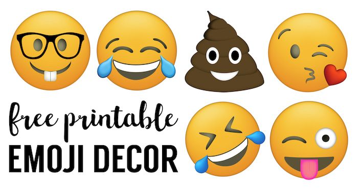 Emoji Faces Printable {Free Emoji Printables}. Emoji party decorations for a birthday party, baby shower, or for teenage bedroom decorations. Emoji banner.