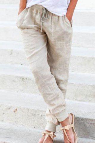 Chic Elastic Waist Pure Color Pants For Women