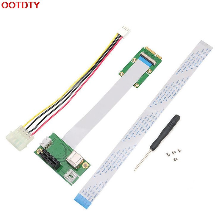 OOTDTY Express PCI-E to Mini PCI-E 1X Extension Cord Adapter Card with USB Riser Card