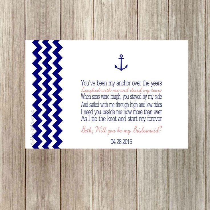 DIY Printable Chevron Anchor/Nautical Will You Be My Bridesmaid Poem Card Personalized with Names & Wedding Date-Print Your Own-Digital File by GoldenGirlDesignz on Etsy