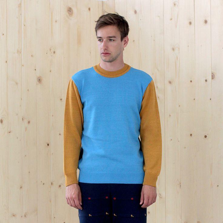 sweater BASIC sky-prussian-gold