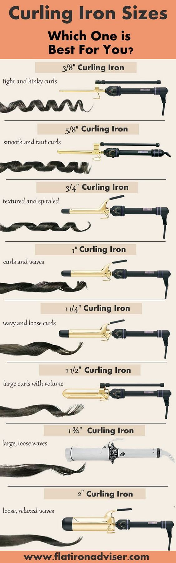 curling iron sizes and results guide: