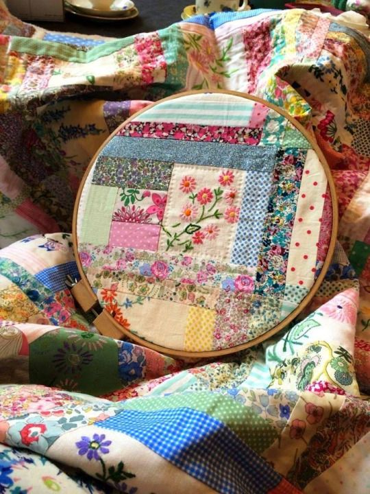 Refashion vintage embroidered pieces and vintage fabric into old-is-new-again quilt