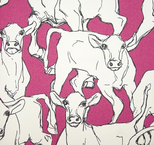 Iltavilli Wall Covering Vibrant Pink, Black and White illustrated Cow wall covering.