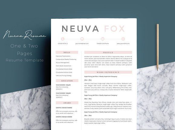 Résumé Templates\/ CV 4 Pages by Quality Resume on @creativemarket - resume templates pages