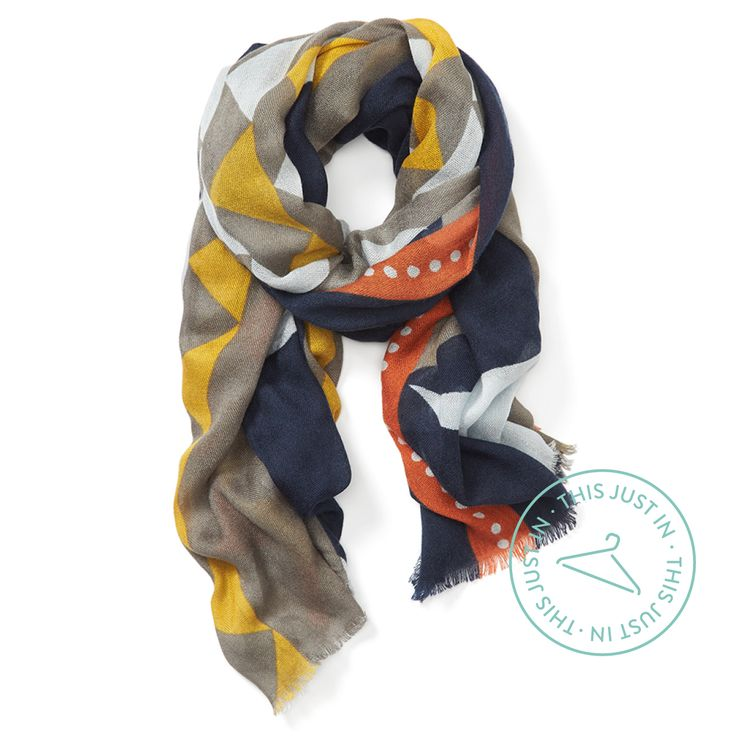 Incoming! Cooler weather ahead. Add a lightweight scarf in a bold print to your transitional wardrobe.