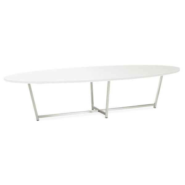 Room & Board - Soto 60w 24d 14h Oval Cocktail Table - we kind of like this shape for the coffee table. i think the rounded edges would soften and add nice contrast to the right angles on the sofas.  - the color would depend on which sofa color we decided. i think the white top would look good with the gray sofa, but a darker color top may work better with the cream/chalk sofa.