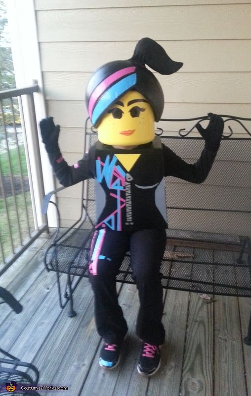 Melissa: My daughter Caitlyn (11) wanted to be Wildstyle from the lego movie, so my husband and I decided to try and make it. The head is white poster board wrapped...