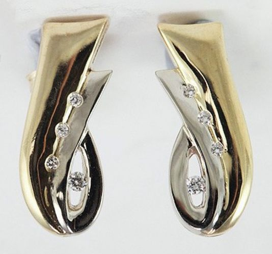 White and Yellow Two Tone Gold Earrings with High Quality Diamonds