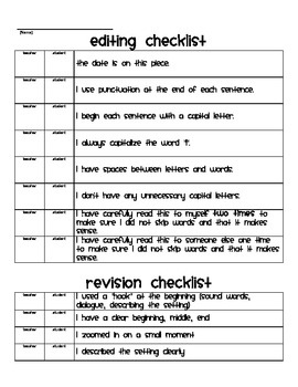 Writing Workshop Small Moments: Edit and Revise Checklist freebie