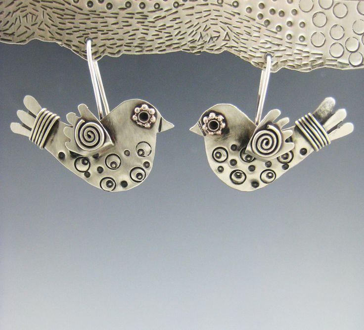 Bird Earrings, Silver Bird Earrings, Metal Bird Earrings, RP0455 by riverpathstudio on Etsy https://www.etsy.com/listing/200544309/bird-earrings-silver-bird-earrings-metal
