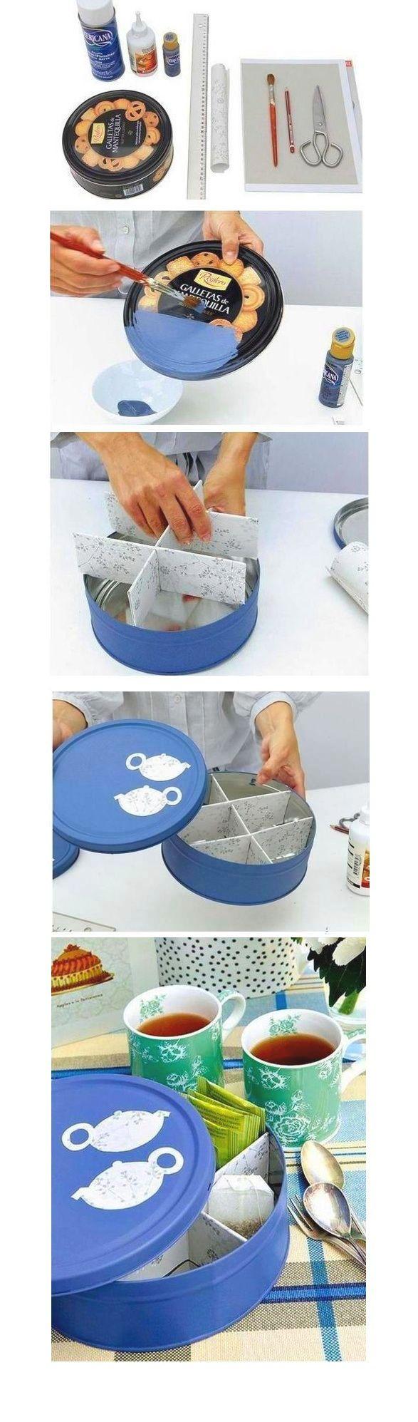 organizador de sobres de te. tea can from a cookies can