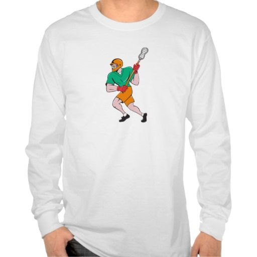 Lacrosse Player Crosse Stick Running Cartoon Tee Shirts. Illustration of a lacrosse player holding a crosse or lacrosse stick running viewed side from set on isolated white background done in cartoon style. #Illustration #LacrossePlayerCrosse