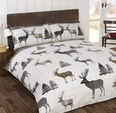 The Natural Flannelette Stag Bedding Range brings a touch of the Scottish Highlands into your home. A subtle and stylish checked design is enhanced with stag and fir tree motifs in a natural colour palette.Available in single, double, king and super king duvet covers with matching pillowcases.Made from 100% brushed cotton for super softness and comfort.