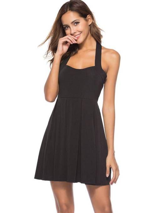 Plain Halter Backless Women s Sexy Dress  bce68f1eb6