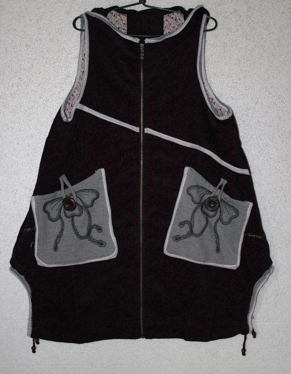 losse fitting Tank jurk hoodie vest van katoen van MaLieb op Etsy